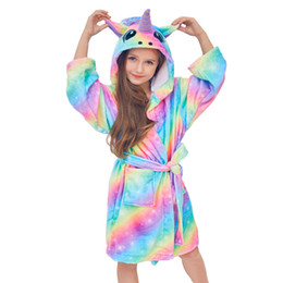 $enCountryForm.capitalKeyWord Australia - Children Unicorn Flannel Autumn Winter Rainbow Bathrobes Kids Girls Pajamas Unicorn Night gown Hooded Kids Sleepwear Night gown SH190912