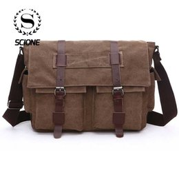 455411379a12 Scione Practical Business Messenger Bags For Men Student A++ Canvas Crossbody  Shoulder Pack Retro Solid Casual Office Travel Bag