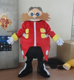 Black Beard Costume Australia - Strange Pink Dr.Eggman Mascot Costume With Red Coat Brown Long Beard Black Boots
