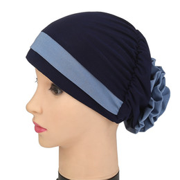 Discount chemo cap - Fioday 1Pc Flower Turban for Women Hair Accessories Elastic Cloth Hair Bands Hat Chemo Beanie Ladies Muslim Scarf Cap Wh