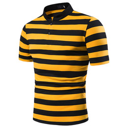 polo designs UK - Fashion Matching Design of Short Sleeve Tshirt with Big Body and Thick Stripes Crossborder Mens Flip Collar and Short Sleeve POLO B37