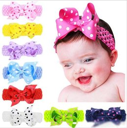 "$enCountryForm.capitalKeyWord Australia - Baby Girls 4"" bow Headbands Forked Tail Dot Bow Kids Polka Dot Wide Grosgrain Bowknot Hairbands Children Hair Accessories 16 Colors"