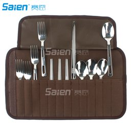 $enCountryForm.capitalKeyWord Australia - 12pcs Silverware Flatware Cutlery Family Set with Travel Case, Backpacking Camping Cookware Kitchen Stainless Steel Utensil