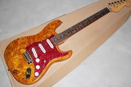 Pearl hardware online shopping - Factory Brown Electric Guitar with Tree burl Veneer Gold Hardware Red Pearl Pickguard SSS Pickups Can be customized