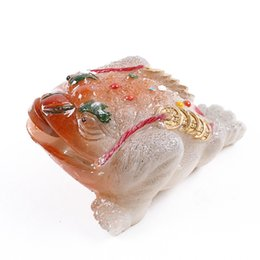 toad toy Canada - Color changing tea pets Lucky gold toad tea toy Boutique resin gold money toad ornaments Tea tray accessories