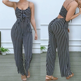 $enCountryForm.capitalKeyWord Australia - New Women's Fashion Clubwear Playsuit Bodysuit Party Jumpsuit Romper Chiffon Condole Belt Stripe Wide-legged Long Trousers