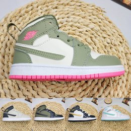 baby boys trainers NZ - Cheap Travis Scott 1s Baby Kids Basketball Shoes Designer Mid Jack Sneakers Children Sports Shoes Boy Girl Toddler Trainer Running Shoes