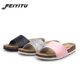 shoes outside NZ - New Bling Sequin Cork Flip Flops Slippers 2020 Casual Summer Style shoes Women Beach Solid Slip on Outside Slides Black Silver