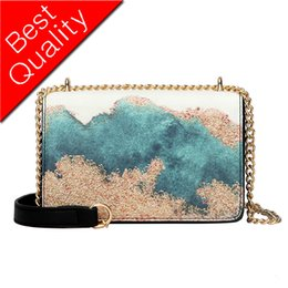 Oil Paintings Rabbits UK - womens brand bag women's embroidery handbag fashion oil painting shoulder bag chain messenger bag 2019 new painted Party package