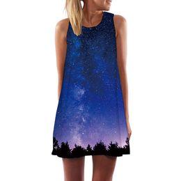fb765d53e5 Galaxy Space Dress Women Forest Short Blue Vestido Sexy Nebula Party Gothic  Sun dress Womens Clothing Summer Ladies