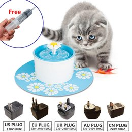 cat drinking water fountain 2019 - 110 220V Electric Cat Pet Fountain 1.6L Automatic Dog Cat Water Feeder Drinking Bowl Pet Drink Water Dispenser Blue Gree