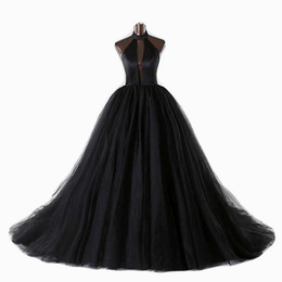 3b9d9eb16 2019 New Black Gothic Wedding Dress Halter Sexy Backless Deep V Neck  Vintage Bridal Gown With Color Non White Wedding Gown A-line