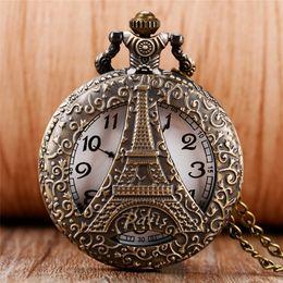 Watches eiffel toWer online shopping - Antique Hollow Paris Eiffel Iron Tower Quartz Pocket Watch Necklace Pendant Chain Fob Watches for Men Women Souvenir Gift