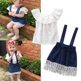 $enCountryForm.capitalKeyWord Australia - baby girl clothes Girls Dress Suits white Tops T shirt+Denim braces skirt Kids Sets toddler kids clothing Infant Outfits Infant Wear BY0977