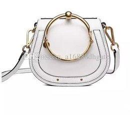China Portable bag ring Circle saddle bags NILE retro small semicircle metal bracelet Leather women Shoulder Bag Handbag suppliers