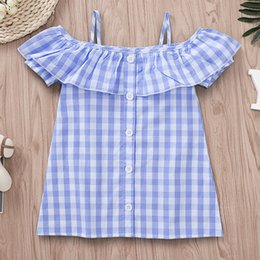 children skirt suspenders Australia - Kids Dress INS Girls Dresses Suspenders Plaid Skirt Pricess Dresses Beach Dresss Baby Child Kids Clothing Q368