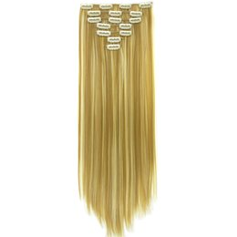 Clip Hair Black Australia - 7pcs set Long Straight Black Blonde Hair Synthetic High Temperature Fiber Hair Pad Clip In Hair Full Head