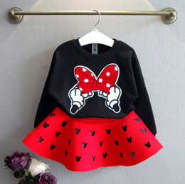 winter baby suit designs 2019 - 2019 new design baby girls outfits with big bow cute babies tops+skirts 2pcs set children suit discount winter baby suit