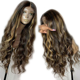 highlights human hair wigs Australia - Brazilian Virgin Human Hair Lace Front Human Hair Wigs Pre Plucked With Baby Hair Loose Wave Highlights Wig Ombre Honey Blonde Color
