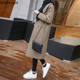 Wholesale elegant long coats for women for sale - Group buy Wool for Women Winter Long Woolen Solid Simple All match Leisure Slim Korean Style Blends Womens Pockets Elegant Ladies Coats