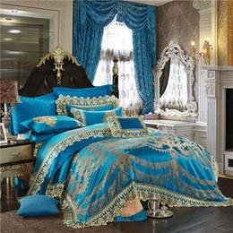 Queen Lace Sheet Set NZ - 4 6 10Pcs Lace Blue Oriental Luxury Duvet cover set Wedding Royal queen king size Bedding set Bed sheet spread set 38