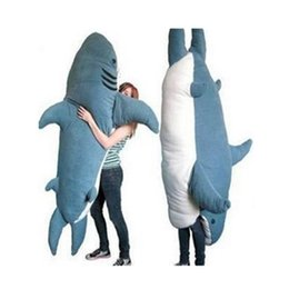 $enCountryForm.capitalKeyWord Australia - 200cm Shark Sleeping Bag Giant Stuffed Soft Plush Animal Bed Carpet Tatami Mattress Sofa Nice Gift Free Shipping K0349