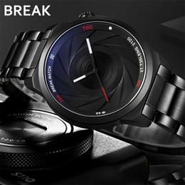Unique Watches For Men Australia - Break Men Unisex Unique Camera Style Stainless Rubber Band Casual Fashion Sport Quartz Wristwatch Modern Gift Watch For Women Y19051603