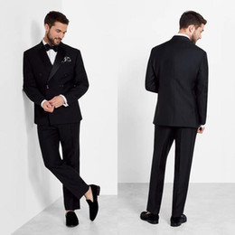 Bright Suits Australia - Bright Black Double Breasted Wedding Tuxedos Peaked Lapel Handsome Groom Wear Jackets Prom Party Blazer (Jacket+Pants)