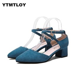 Nude Woman Black Tie NZ - Shoes Woman Summer Women Pumps Female Word Buckle Pointed High-heeled Thick With 4.5cm Black Bean Paste Nude Cross-tied H56