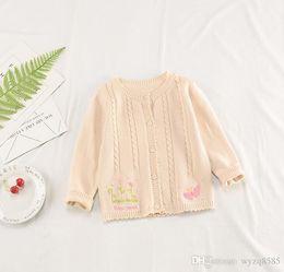 $enCountryForm.capitalKeyWord Australia - Spring and autumn new embroidered girls knit cardigan children's sweater Korean version of cotton children's long-sleeved jacket