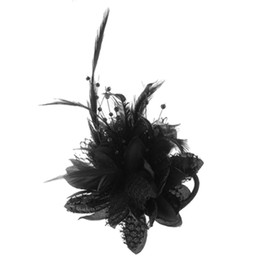 brooch hair Australia - Flower Design Feather Decor Hair Band Tie Safety Pin Brooch Black