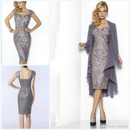 4a293449a29 New Grey Elegant Sweetheart Mothers Dresses Tea Length Sheath Lace Mother  of The Bride Groom Dresses with Jacket Moms Gowns