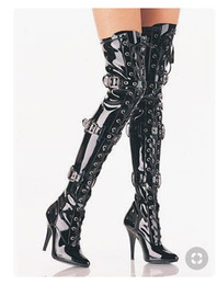 models high boots UK - Model catwalk sexy female boots street beat pointed high heel stiletto belt buckle cross straps women's shoes Free Shipping