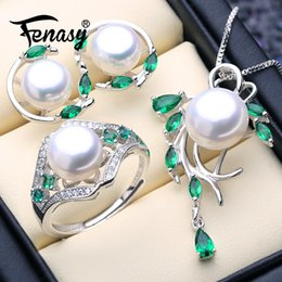 natural emerald pendants 2019 - FENASY 925 Sterling Silver Emerald Jewelry Sets Natural Pearl Stud Earrings Trendy Pendant Necklace For Women Green Ston