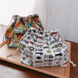 $enCountryForm.capitalKeyWord NZ - YILE Cotton Linen Lining Drawstring Handbag Lunch Pouch Multi Pattern Cat Falmingo Leaf Geometry