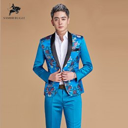 Discount chinese design suits - Wedding Suits for Men Chinese Style Royal Blue Gold Red Dragon Print Suits Latest Coat + Pant Designs Stage Singer Wear