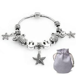 Silver 925 Starfish Bracelet Australia - Authentic 925 Silver Bracelets Fit Pandora Women Bangle Stainless Steel Openwork Carved Beads Hippocampi Starfish Pendant Jewelry P190