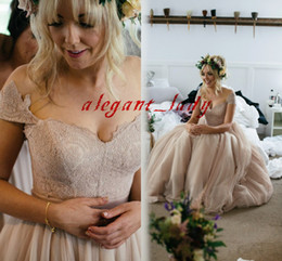 Wedding dresses tulle skirts online shopping - Dusty Blush Pink Countryside Wedding Dresses Retro Cap Sleeve Fairy Tulle Long Beach Lace Top Bridal Garden Wedding Gown