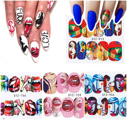 Nail stickers girls online shopping - Hot Nail Stickers Sexy Lips Cool Girl Water Decals Wraps Cartoon Sliders DIY Nail Art Decoration Manicure Makeup