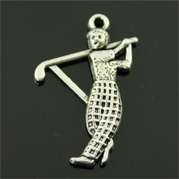 $enCountryForm.capitalKeyWord Australia - 150pcs Sport Golf Pendant Charms For Jewelry Making Antique Bronze Antique Silver Golf Player Charms Charm Golf Player 31x20mm