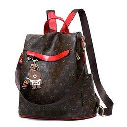 Discount brown bear backpack - 2019 Sale Mochilas Backpack Women Animal Prints Retro Female Schoolbags Bear Pendant Casual Book Bags Ladies Double Shou