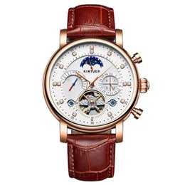 Chinese  Authentic KINYUED Jin Yueda Swiss automatic fashion leather diamonds stars men's hollow mechanical watchesfree shipping manufacturers
