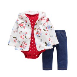 $enCountryForm.capitalKeyWord Australia - kid girl hooded clothing set,unisex toddler baby outfit autumn winter,floral coat+rompers dot+pant,3PCS NEW BORN