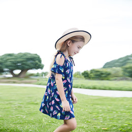 Wholesale Cute Baby Girls Ins Off Shoulder Floral Print Blue Dress Summer Halter Bow Party Dress Western Children Dresses