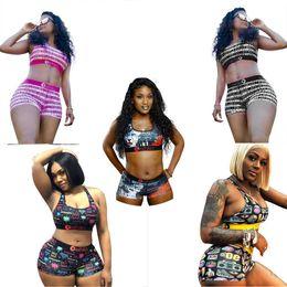 Wholesale Women swimsuit summer Beach Swimwear Cartoon Swimming Bathing Suits Tankini Push Up Vest Bras + Shorts 2Pcs Bikini Set C6402