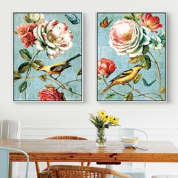 vintage art print canvas UK - Vintage Home Decoration Bird Butterfly Flower Print Posters Chinese Style Canvas Oil Painting Wall Art Picture For Living Room