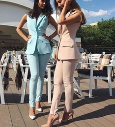 Evening Pants For Ladies Australia - Bespoke Custom Made Spring Summer Women Slim Fit Pants Suit Sleeveless Jacket For Business Office Ladies Evening Outfit W206 J190430