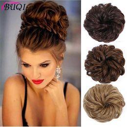 clip heat resistant hair 2019 - Buqi Fashion Women Synthetic Bun Elastic Dount Blonde Black Heat Resistant Clip In Hairpiece Extensions Chignon Hair Acc