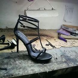 big size 2018 new fashion shoes women sandals peep toe cross-tied gladiator  black high heels party shoes feminino melissa sandalia fc7606b32f37