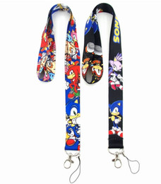 game lanyards UK - Free shipping 100pcs Cartoon Game SONIC THE HEDGEHOG Neck Lanyard Multicolor Phone Accessories Cell Phone Camera Neck Straps Lanyard Gifts